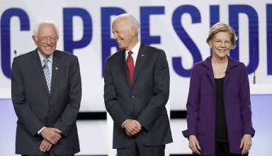 Các ứng cử viên (từ trái qua phải) Bernie Sanders, Joe Biden và Elizabeth Warren. (Nguồn: Politico)