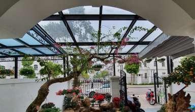 Vườn hoa phía trước cổng biệt thự nhà Tuấn Hưng.