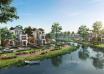 Nhà ven sông, cận sông được ưa chuộng nhờ quan niệm phong thủy, không gian sống tốt cho sức khỏe. Ảnh phối cảnh dự án Aqua City (Biên Hòa, Đồng Nai).
