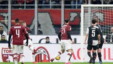 Rebic đưa Milan vượt lên. Ảnh:Reuters.